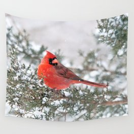 Winter's Beauty Cardinal Wall Tapestry