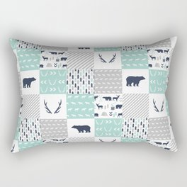 Camper antlers bears pattern minimal nursery basic navy mint white camping cabin chalet decor Rectangular Pillow