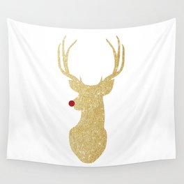 Rudolph The Red-Nosed Reindeer | Gold Glitter Wall Tapestry