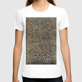 Olive & Brown Tooled Leather T-shirt