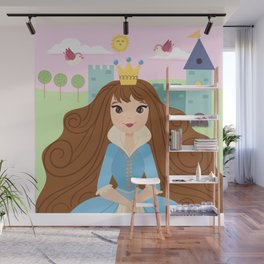 Fairy Tale Princess With Her Story Book Castle - Blue Dress Wall Mural