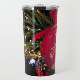 Red Christmas ball with retro ornament on Christmas tree Travel Mug