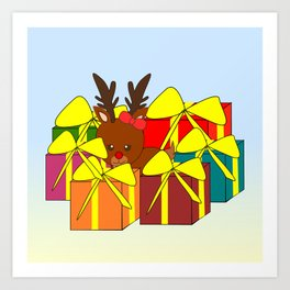 Cute reindeer hiding behind Christmas gifts Art Print