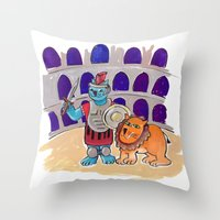 gladiator Throw Pillows featuring Gladiator Kitty - Art by Ted Meyer by Rothco Press