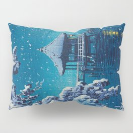 Tsuchiya Kôitsu Japanese Woodblock Vintage Print Blue Winter Snow Pagoda On Lake Pillow Sham