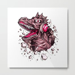 Dino with Headphones Puce Metal Print