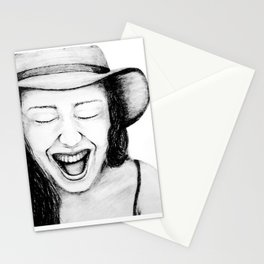 So Amused! Expressions of Happiness Series -Black and White Original Sketch Drawing, pencil/charcoal Stationery Cards