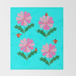 Spring Flowers and Lady Bugs with Blue Throw Blanket