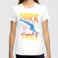 shark T-shirts featuring Shark by Silver Larrosa