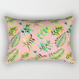 Watercolor Leaves pattern - pink background Rectangular Pillow