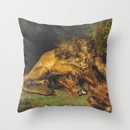 """Eugène Delacroix """"Lion dévorant un cheval"""" Throw Pillow"""