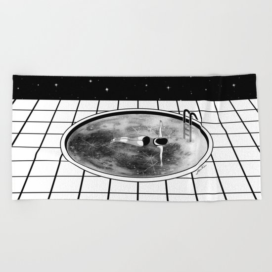 Pool Moon Beach Towel