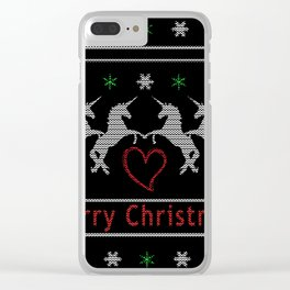 Unicorn Christmas Clear iPhone Case