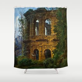 Roman Italian Ruins At Twilight with flying birds in foreground landscape painting by Ferdinand Knab Shower Curtain