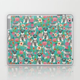 Schnauzer florals dog must have gifts for schnauzers pure breed Laptop & iPad Skin