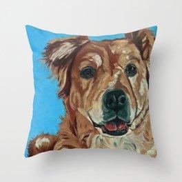 Cody the Golden Labrador Mix Dog Portrait Throw Pillow