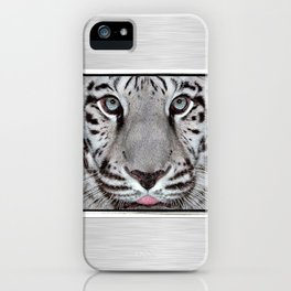 White Tiger with a little tougue iPhone Case