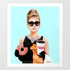 Breakfast at Dunkin Donuts - Audrey Hepburn Art Print