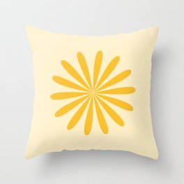 Big Daisy - Minimalist Floral Abstract in Mustard and Buttercream Throw Pillow