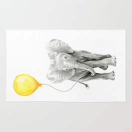 Elephant Watercolor Yellow Balloon Whimsical Baby Animals Rug