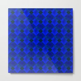 Fashionable large plaids from small blue intersecting squares in a dark cage. Metal Print