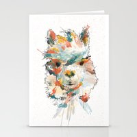 alpaca Stationery Cards featuring + Watercolor Alpaca + by BANBAN