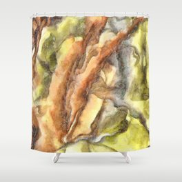 Leaves and Petals Autumn Abstract Watercolor Shower Curtain