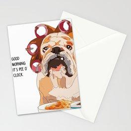 English Bulldog-Good Morning.  It's pee o'clock. Stationery Cards