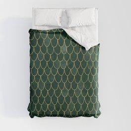 Mermaid Fin Pattern // Emerald Green Gold Glittery Scale Watercolor Bedspread Home Decor Duvet Cover