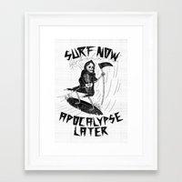 apocalypse now Framed Art Prints featuring Surf Now, Apocalypse Later by Alejandro Giraldo