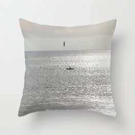 Silver sea boat and seagull seascape Throw Pillow