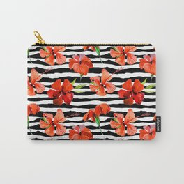 Hibiscus flower and stripes pattern Carry-All Pouch