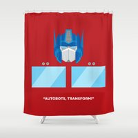 optimus prime Shower Curtains featuring Optimus Prime by IlPizza