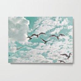 Seagulls in Flight Metal Print