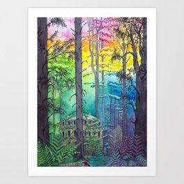 Rainbow Forest - Nature Watercolor Illustration - Stephanie Kilgast Art Print