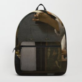 Woman Holding a Balance Johannes Vermeer Backpack