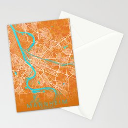 Mannheim, Germany, Gold, Blue, City, Map Stationery Cards