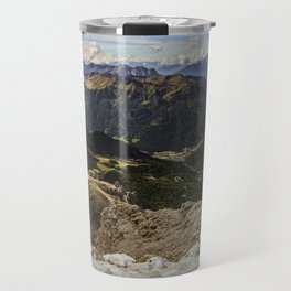 view from sass pordoi - Dolomites Panorama Travel Mug