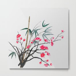 bamboo and red plum flowers Metal Print