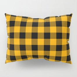 Crisp Orange and Black Lumberjack Buffalo Plaid Fabric Pillow Sham