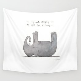 an elephant, sleeping on its back for a change Wall Tapestry