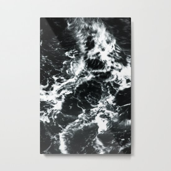 Waves - Black and White Abstract Metal Print