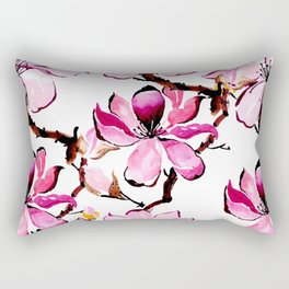 Watercolor Cherry Flowers III Rectangular Pillow