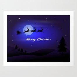 Reindeer pulling Santa's Sleigh Art Print