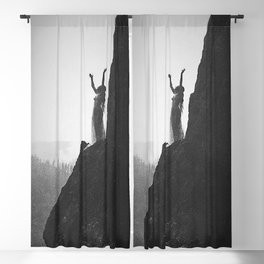 Incantation, A Goddess, mountain - canyon female form black and white photography by Anne Brigman  Blackout Curtain