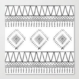 Gray Boho Aztec Canvas Print