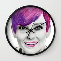 audrey Wall Clocks featuring Audrey  by MaarjaPB