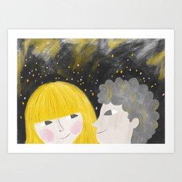 boy and girl portrait illustration Art Print