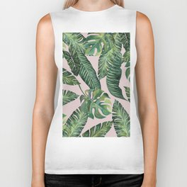Jungle Leaves, Banana, Monstera Pink #society6 Biker Tank