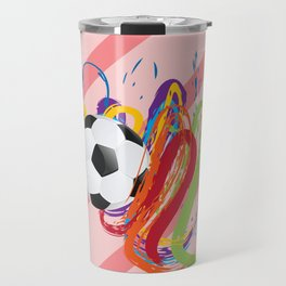 Soccer Ball with Brush Strokes Travel Mug